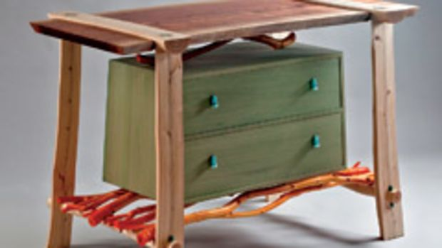 """David Boyle used hornbeam, walnut, poplar, lilac and maple for his """"Home from the Sea,"""" which is on display at the Maine Wood 2010 exhibition."""