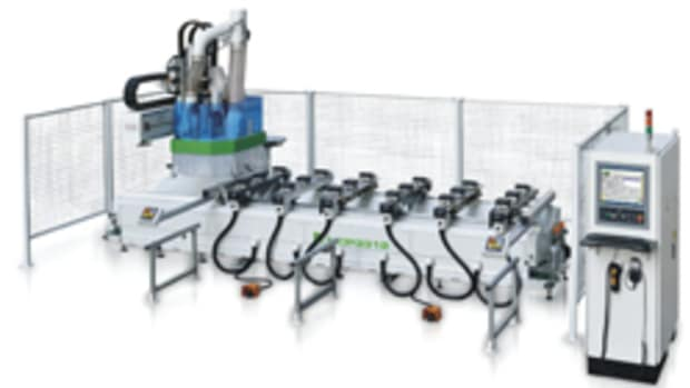 A pod and rail machine is well suited to both cabinet and millwork processing, where the woodshop can easily position vacuum pods and rails for a wide variety of fixture options.