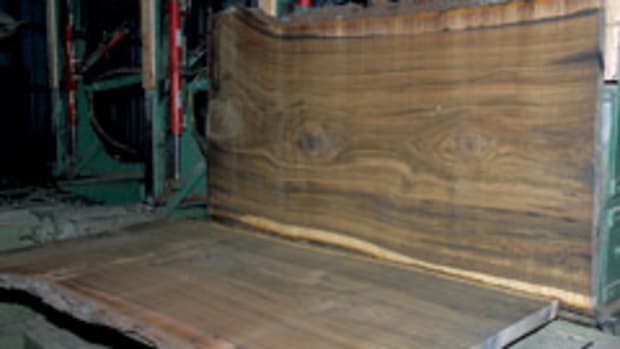 A walnut slab cut at Hearnes Hardwoods in Oxford, Pa.