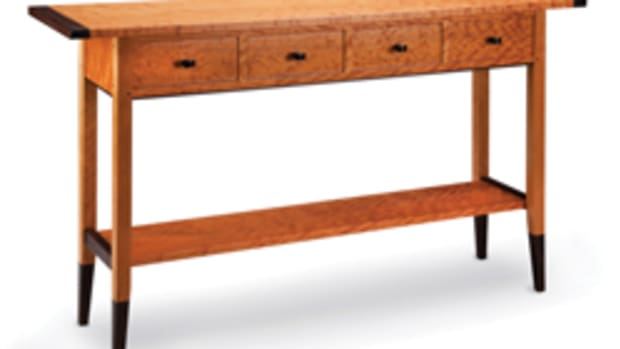 Dumke's portfolio includes this solid cherry two-drawer table with wenge accents.