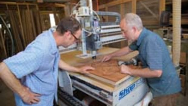 John Staack (right) and Jim Moore, owners of Staack Moore Woodworking.