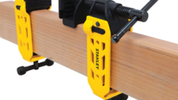 The 2x4 clamp from Stanley can be quickly rigged in the shop or on site to create a virtually endless clamp using standard 2x4 lumber.