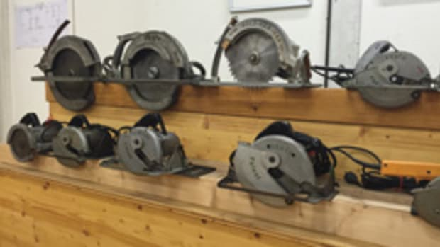The comapny's first chain saws (Photo A, below) and the circular saw exhibit (D).