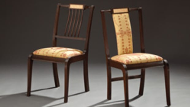 """The Winter Show includes these """"His and Here"""" chairs by Richard Oedel, made with crotch birch, mahogany, ebony and holly."""