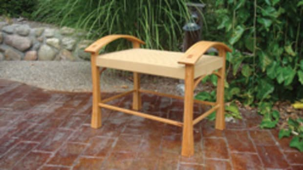 Work at the Fine Furnishings Shows includes this bench by Cole & Sons in Russiaville, Ind.