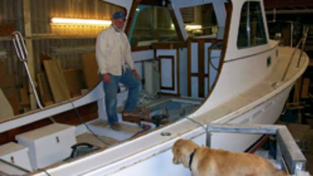 """Boatbuilder Joe Reid has been doing maintenance and wooden-boat repairs for the last couple of years, but there has been """"serious interest"""" in this Thomas Point 40."""