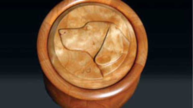 Luke Thornton's dog carving urn.