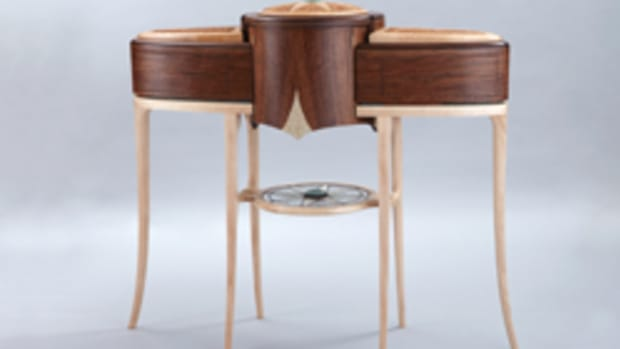 """Pieces in the Art of Fine Furniture exhibit include Mark Laub's """"Queen of the Slipstream."""""""