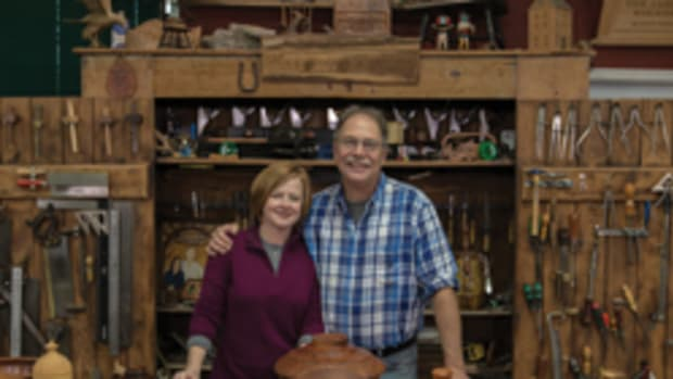 """Suzy and Scott Phillips, co-hosts of """"The American Woodshop."""""""