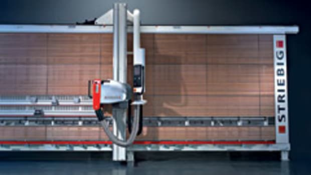The Striebig Control and Evolution vertical panel saws now have a touch-screen color monitor for control of most saw functions and troubleshooting diagnostics.
