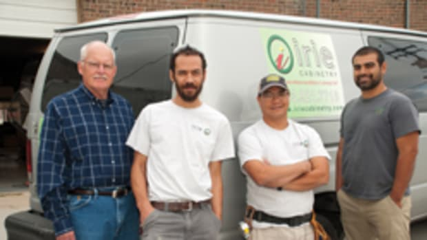 The team at Irie Cabinetry includes (from left) Don Fiddes, owner Scott Kelley, shop foreman Pat Wagner and Julio Rosales.