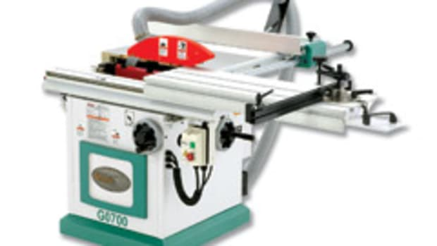 """The Grizzly model G0700 10"""" sliding table saw has a small 25-1/2"""" x 27-1/2"""" footprint."""