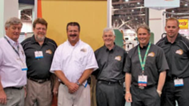 General International's CEO Gilles Guerette, from left, U.S. operations manager Scott Box, sales representative Craig Walls and Tom Guertin, president Christian Chenier, and sales representative Curt Thomas at the 2009 AWFS fair in Las Vegas.