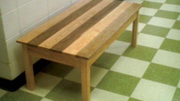 A coffee table by students from Bert Christenson's woodworking class at Westosha Central High School in Salem, Wis.