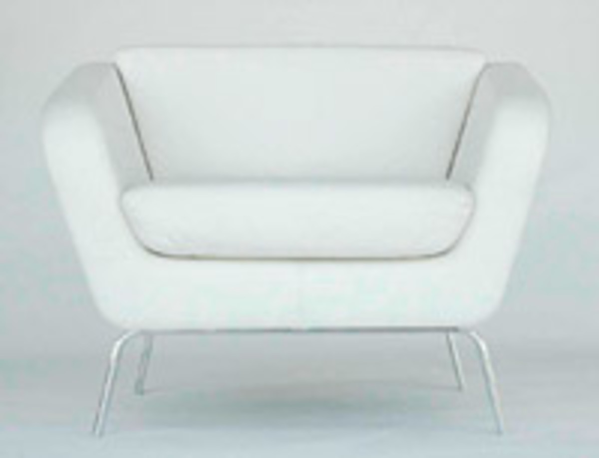 Luke Saule designed this sleek and modern white leather chair.
