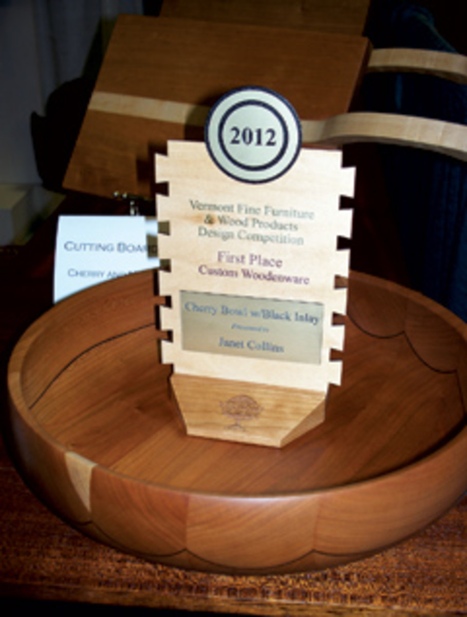 A cherry bowl with black inlay from Green Mountain Woodworking, a winning entry in the custom woodenware category.
