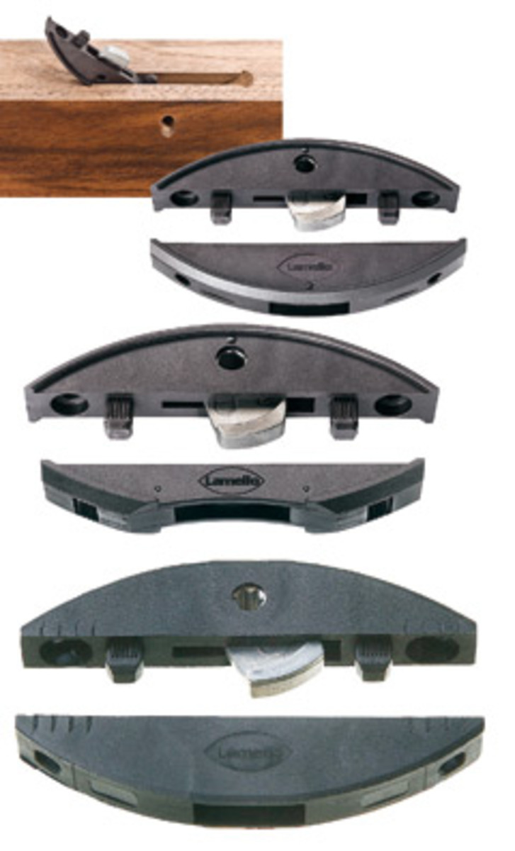 Lamello's Clamex line includes the P-10 and P-15 that have a raised rim that locks in the slot; the narrower Medius for panel applications and the standard S that is held in place with screws.