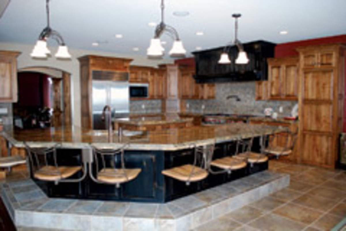 The shop's portfolio includes this kitchen with raised seating.