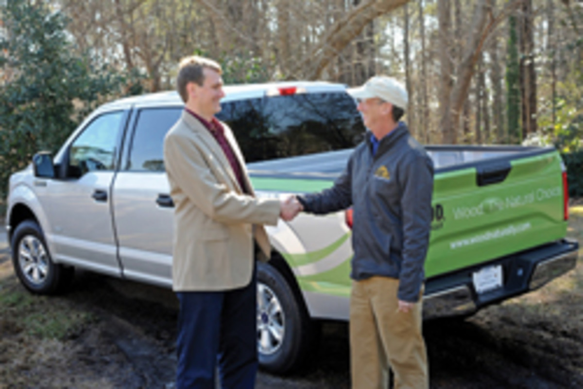 """Atlanta-based contractor Joel Harper won a new truck in this year's """"Wood, Naturally Build and Design Sweepstakes."""""""