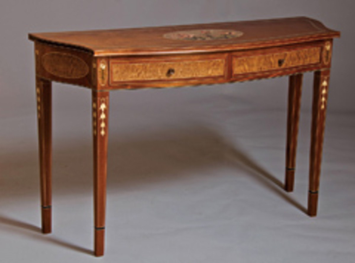 Strazza won Best in Show honors at the Texas Furniture Show for this Federal-style hall table.