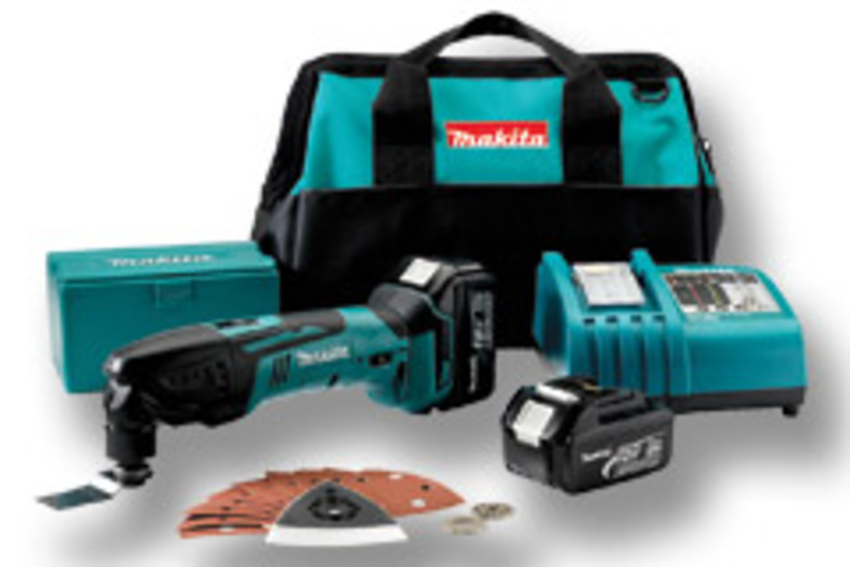 Makita's 18-volt LXT lithium-ion multitool kit, model LXMT025.