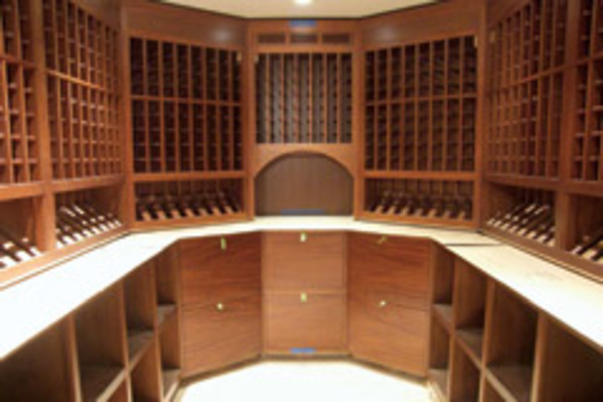 A recently installed wine cellar.