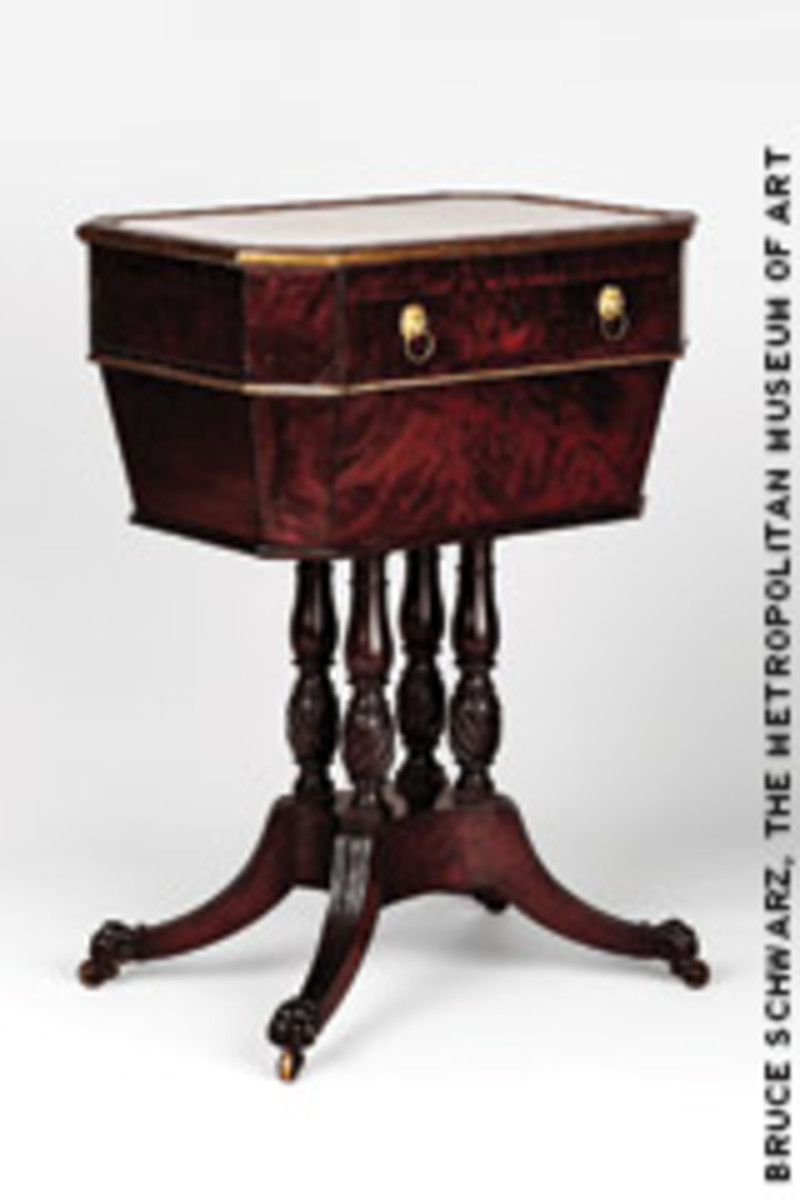 "Phyfe's ""Worktable"" (1811-16) made of mahogany veneer, brass, silver-plated copper and marble."