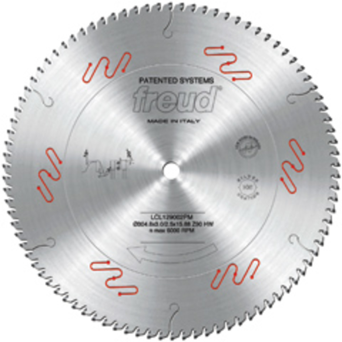 Freud's new miter saw blades feature a metallic coating to prevent heat friction and debris buildup.