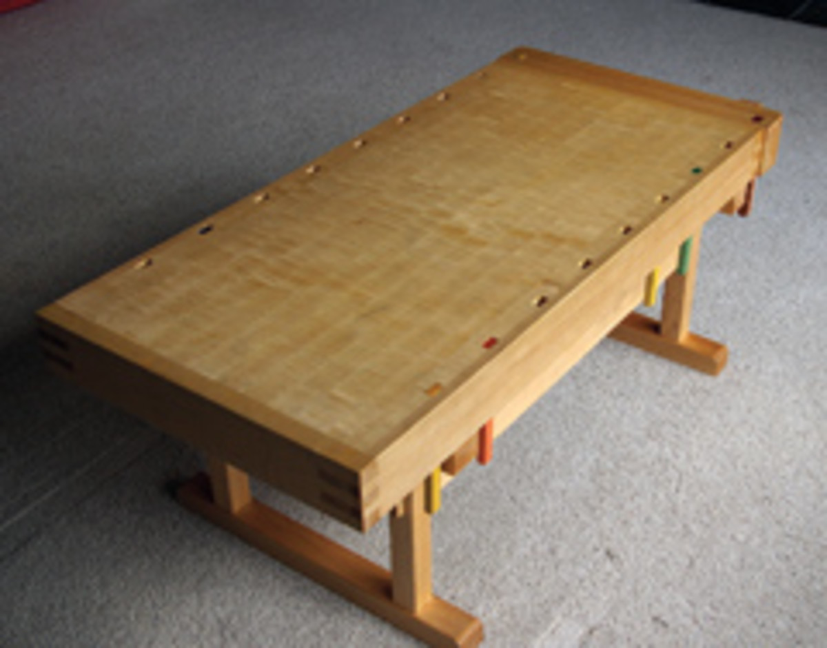 Anderson constructed this coffee table as a miniature and usable workbench.