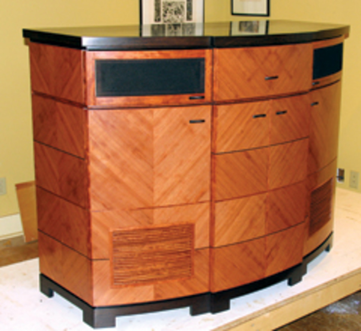 St. John built this audio cabinet with quartered bubinga veneer, wenge veneer and solid lumber.