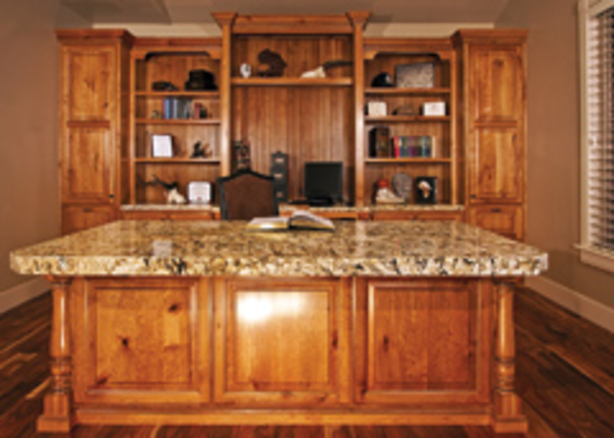 The company's granite countertops are fabricated in-house and are popular in kitchens as well as offices.