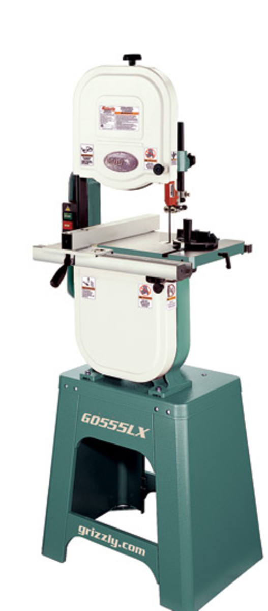 "Grizzly's 14"" deluxe band saw, model GO55LX."