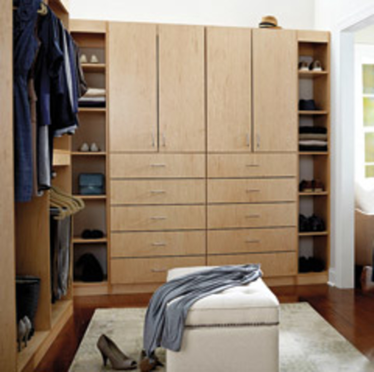 A closet created with the YouBuild program, which allows retail customers to select from a variety of different materials and order pieces online.