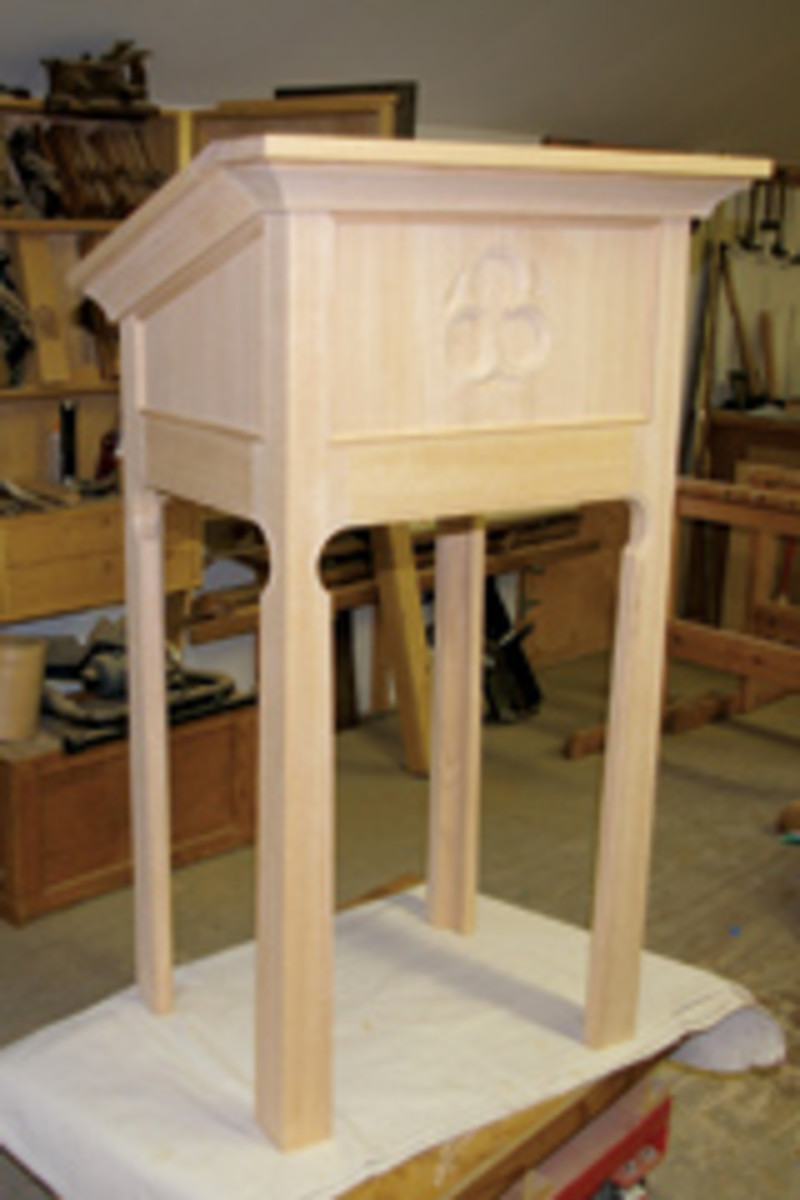 Anderson mostly builds pieces, such as this lectern, for churches.