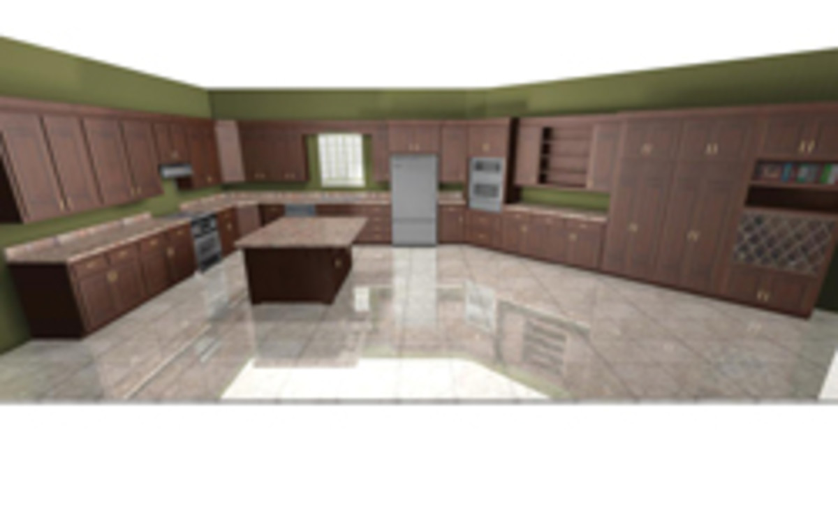 At this point, customers are expecting to see their finished kitchen before it's built. Here's a 3-D kitchen rendering created with Cabinet Pro software.