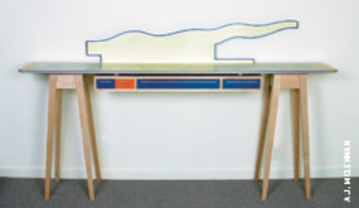 Gary Knox Bennett bought this sideboard using maple, aluminum, lacquer, Colorcore and matte silver-plated brass.