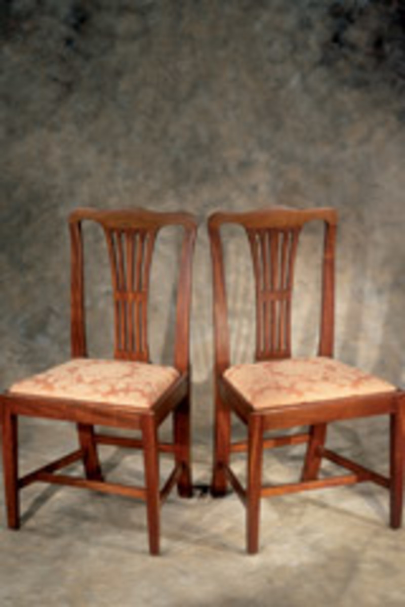 Edwards' protfolio includes re-creations of a pair of Chippendale side chairs.