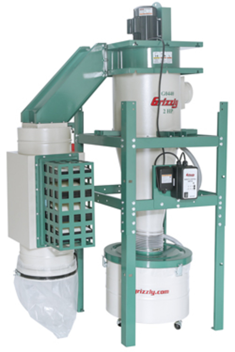 Grizzly's new dual-filtration, HEPPA filter, cyclone-style duct collector.