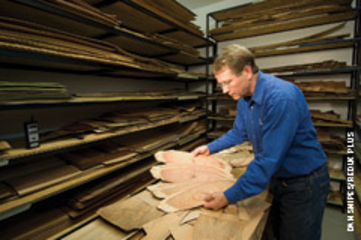 Edwards pick through his extensive veneer collection.