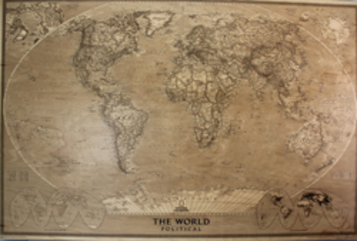 A political map of the world, also produced with a Kern laser.