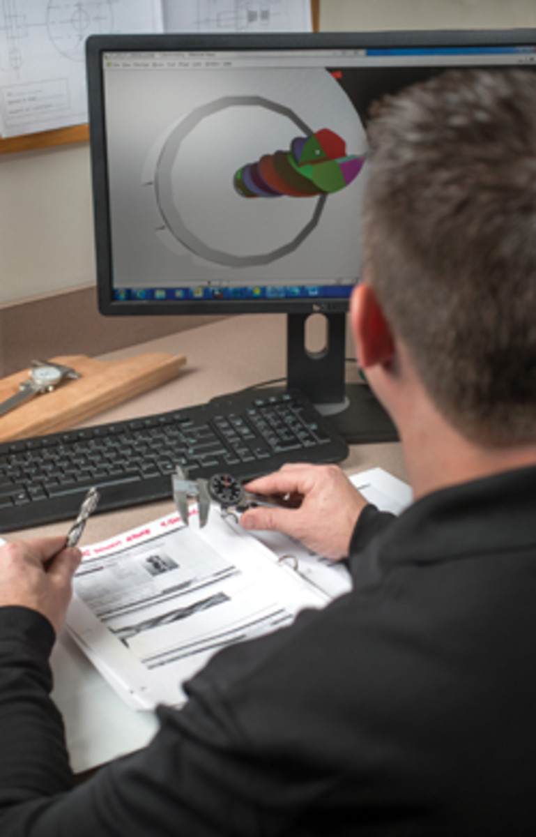 Custom tooling is created with the shop's Tool Studio Endmill Wizard CAD/CAM software.