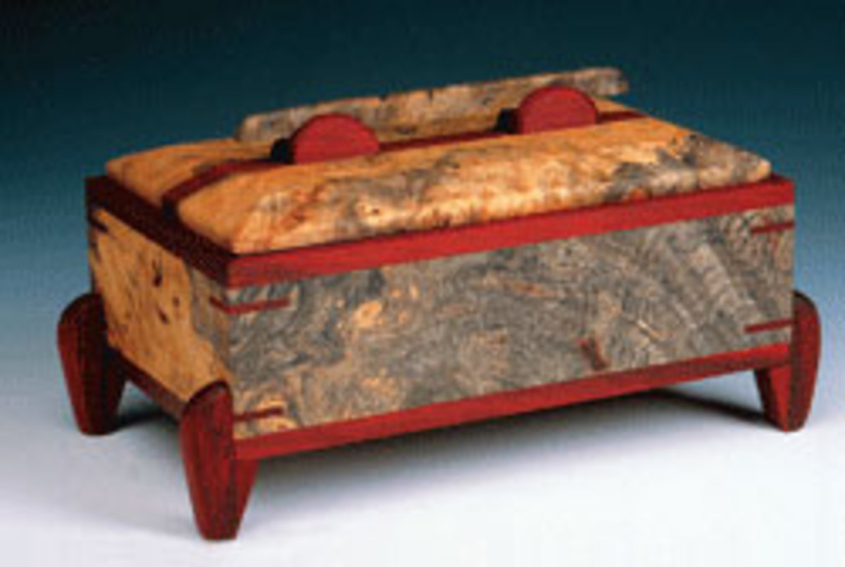 Furniture makes exhibiting at this spring's Paradise City Arts Festival in Marlborough, Mass., include David Morrison and his jewelry box.