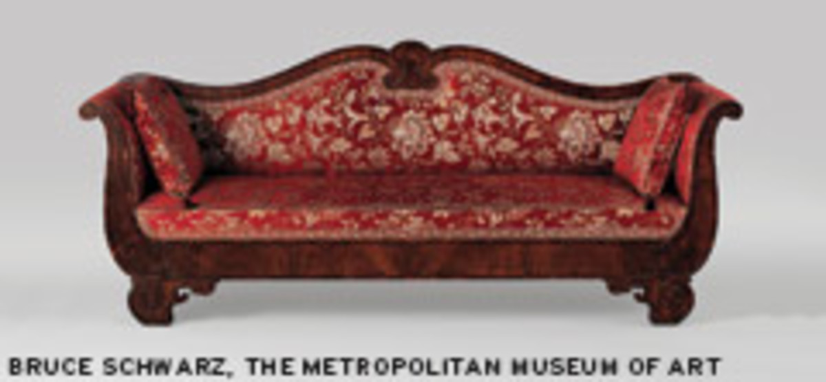 "Phyfe's ""Sofa"" (1841) featuring rosewood veneer and mahogany."