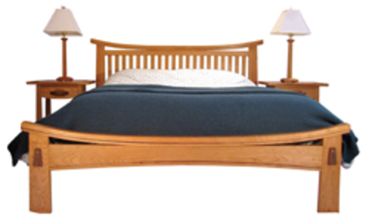"Robert C. Brand's ""Rockland Bed Set,"" made with cherry and walnut inlays."