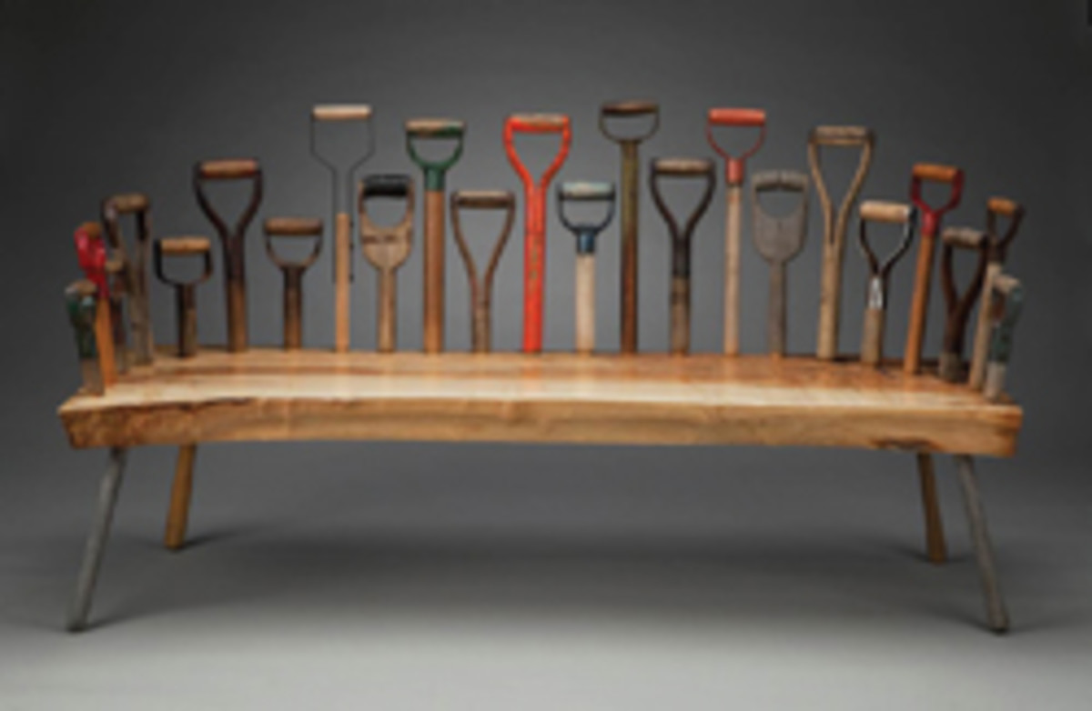 "Tom Loeser's ""Dig 23,"" a bench made of maple and shovel handles, part of the ""Urban Woods Encounter"" exhibit."