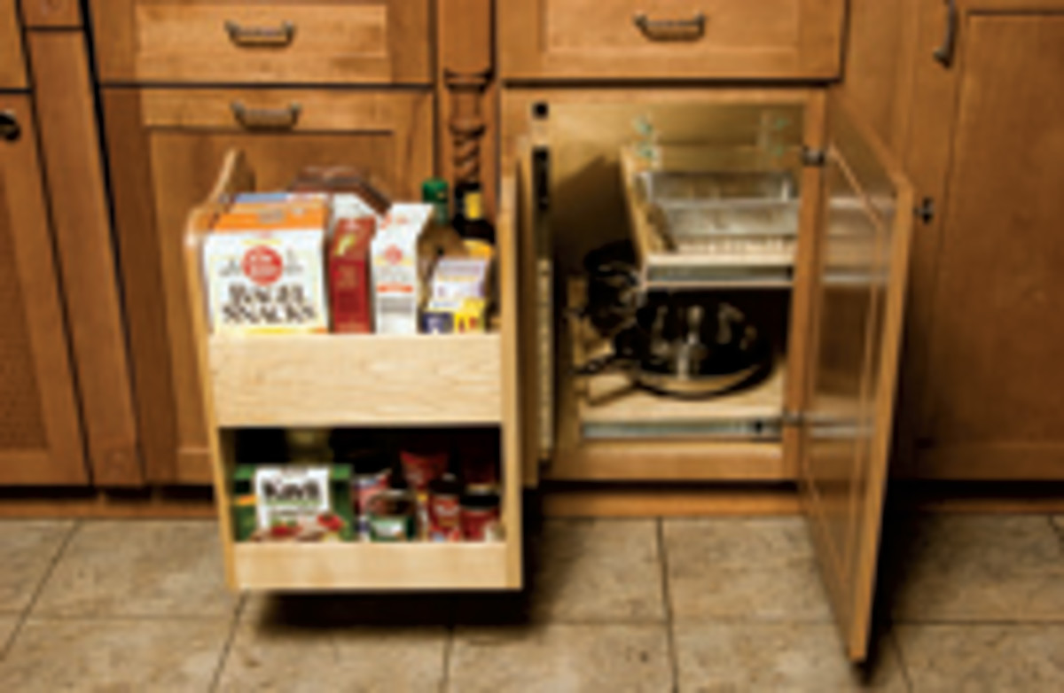 The KitchenMate blind-corner cabinet organizer.