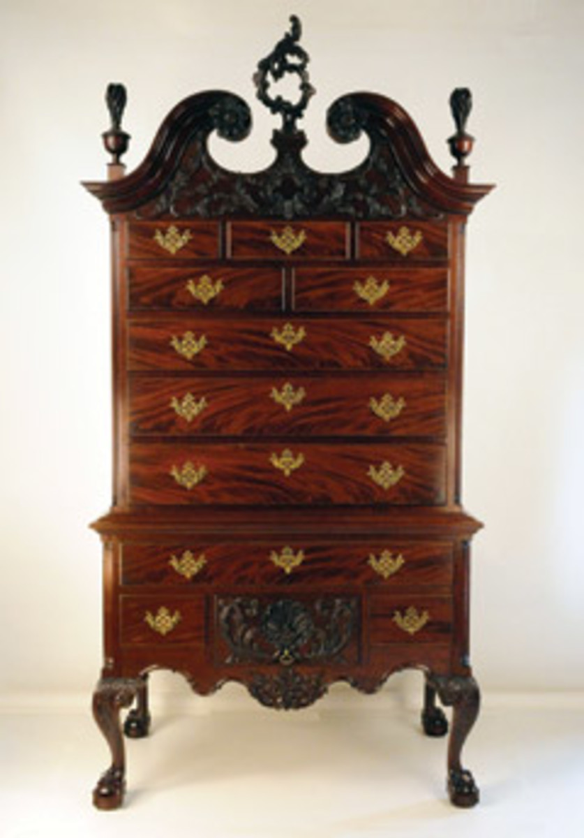 The Society of American Period Furniture Makers exhibit features this Philadelphia high chest by James Hardwick.