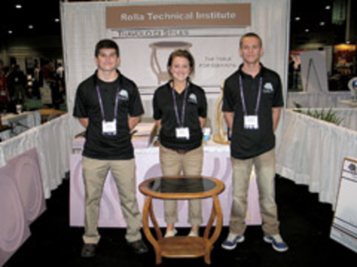 From left, Zach Ludden, Nikki Look, Lucas Shelton and their first-place entry in the IWF Ready to Assemble contest.