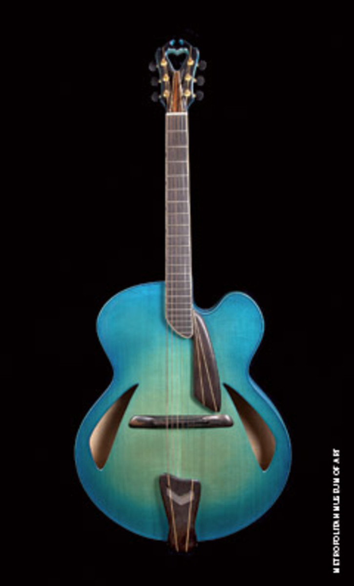 """Blue,"" an archtop guitar, by James D'Aquisto of Greenport, N.Y."