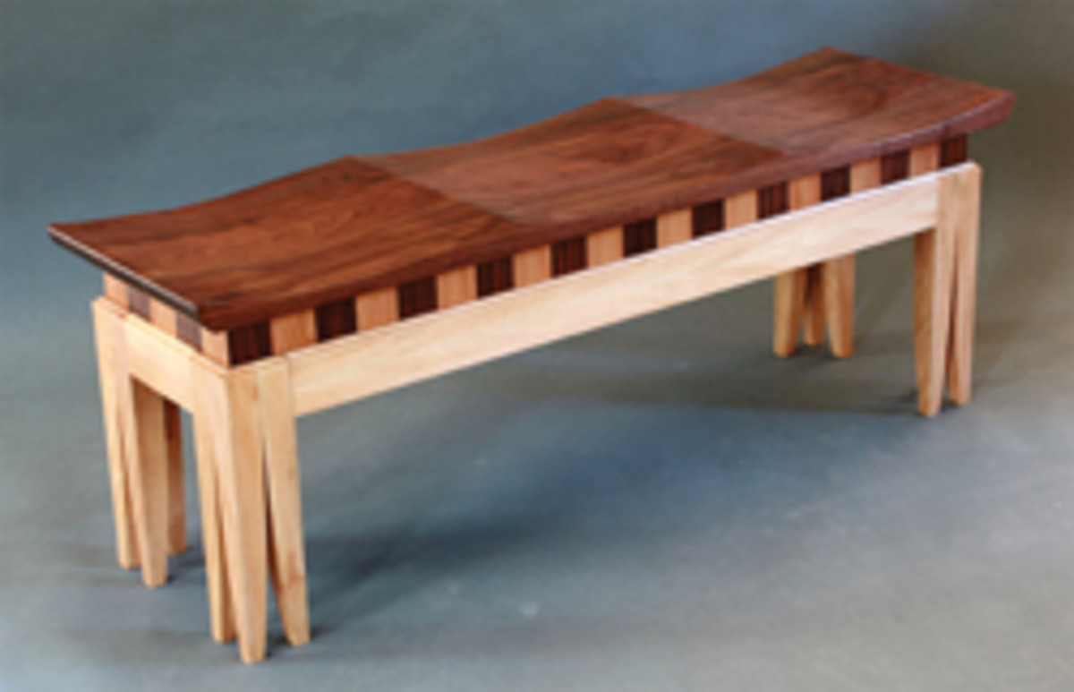 Joel Mark's bench, made with black walnut and American sycamore.